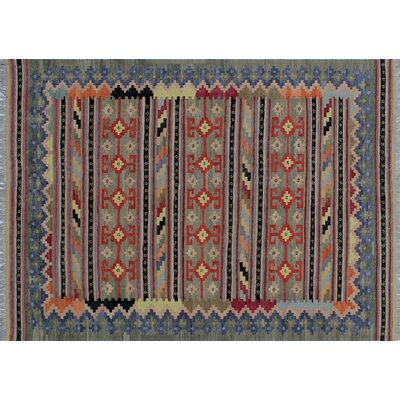 One-of-a-Kind Rucker Kilim Hand-Woven Green Area Rug