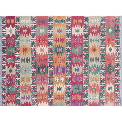 One-of-a-Kind Cortez Kilim Hand-Woven Rectangle Rust Wool Area Rug