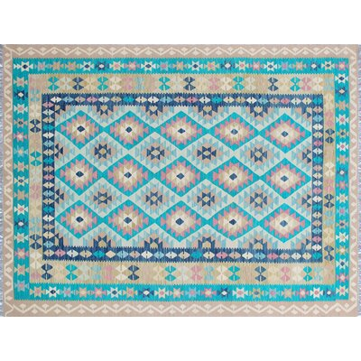 One-of-a-Kind Cortez Kilim Hand-Woven Teal/Green Area Rug