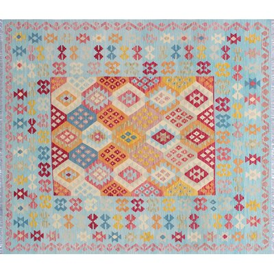 One-of-a-Kind Cortez Kilim Hand-Woven Light Blue Area Rug
