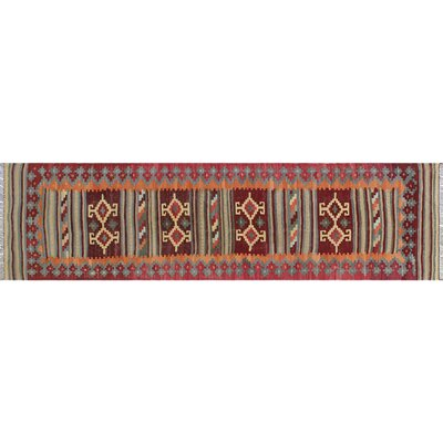 One-of-a-Kind Rucker Kilim Hand-Woven Dark Red Area Rug