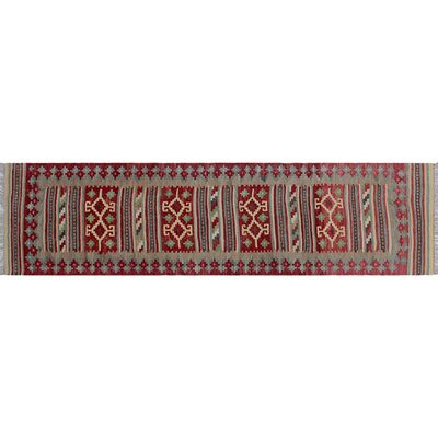One-of-a-Kind Rucker Kilim Hand-Woven Rust Area Rug