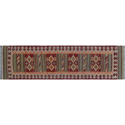 One-of-a-Kind Rucker Kilim Intricate Geometric Hand-Woven Runner Red Wool Area Rug