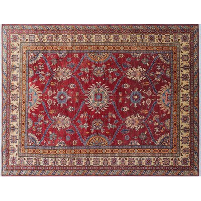 Heron Hand-Knotted Rectangle Red Area Rug