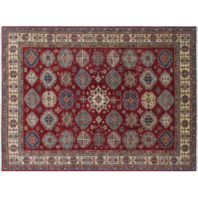 One-of-a-Kind Heron Hand-Knotted Red Premium Wool Area Rug