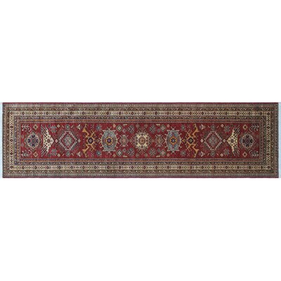 Heron Hand-Knotted Red Wool Area Rug