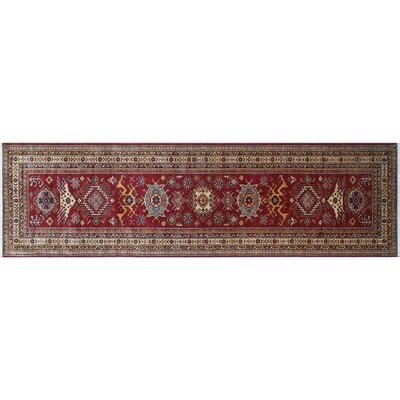 Heron Hand-Knotted Geometric Red Area Rug