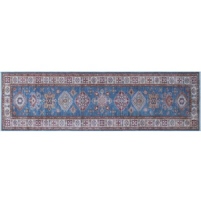 One-of-a-Kind Heron Hand-Knotted Blue Premium Wool Area Rug