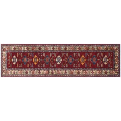 Heron Hand-Knotted Geometric Red Indoor Area Rug