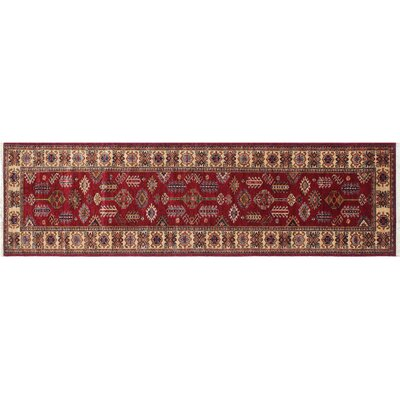 One-of-a-Kind Heron Hand-Knotted Red Indoor Wool Area Rug