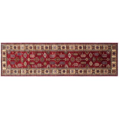 Heron Hand-Knotted Rectangle Red Wool Area Rug
