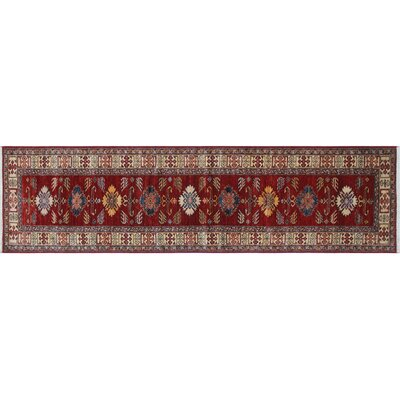 Heron Hand-Knotted Runner Red Area Rug