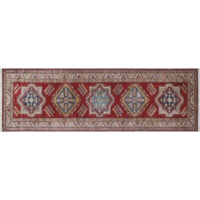 One-of-a-Kind Heron Hand-Knotted Runner Red Premium Wool Area Rug