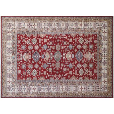 Heron Hand-Knotted Green/ Red Area Rug