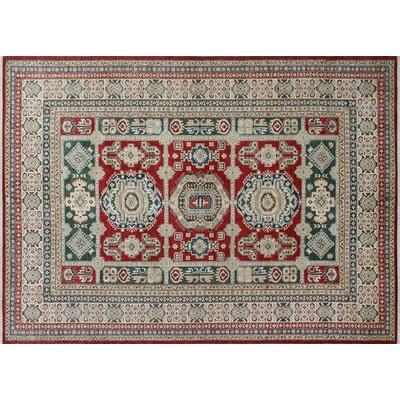 One-of-a-Kind Heron Hand-Knotted Green/Ivory and Red Area Rug