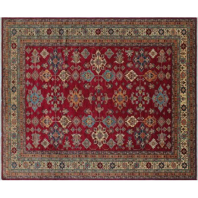 Heron Hand-Knotted Rectangle Red Wool Indoor Area Rug