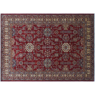 One-of-a-Kind Heron Hand-Knotted Red Rectangle Area Rug