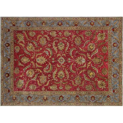 One-of-a-Kind Doutzen Distressed Overdyed Hand-Knotted Red Area Rug