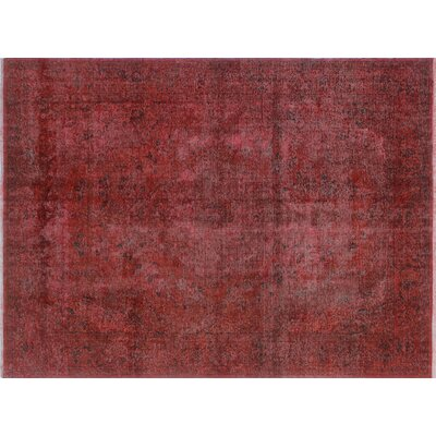 One-of-a-Kind Elinn Distressed Overdyed Hand-Knotted Red Area Rug