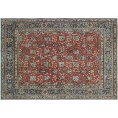 Emmanuelle Distressed Overdyed Hand-Knotted Rust Area Rug