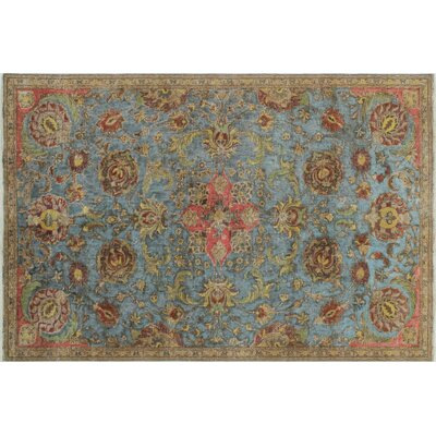 Emmanuell Distressed Overdyed Hand-Knotted Blue Area Rug