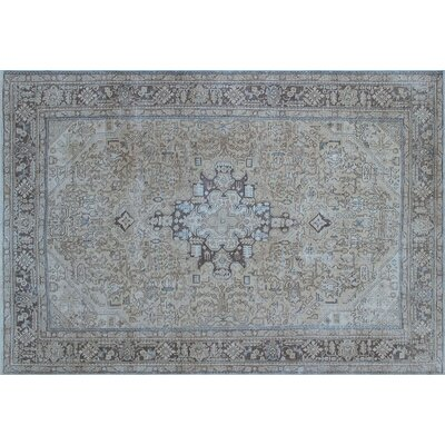 Aldreda Distressed Hand-Knotted Beige Area Rug