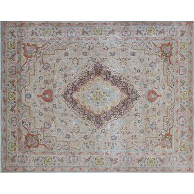 Floriana Distressed Overdyed Hand-Knotted Beige Area Rug
