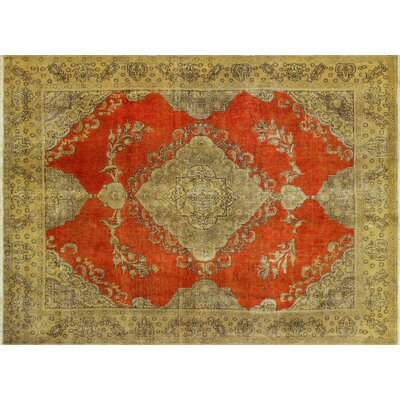 Victor Distressed Overdyed Hand-Knotted Orange Area Rug