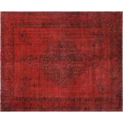 One-of-a-Kind Winston Distressed Overdyed Hand-Knotted Red Area Rug