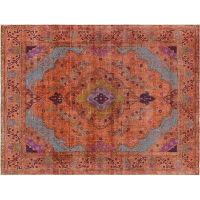 Melynda Distressed Hand-Knotted Orange Area Rug