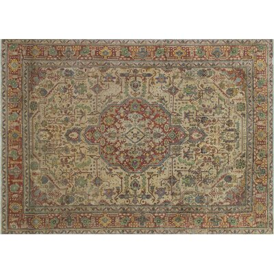 One-of-a-Kind Alleyton Distressed Overdyed Hand-Knotted Beige Area Rug