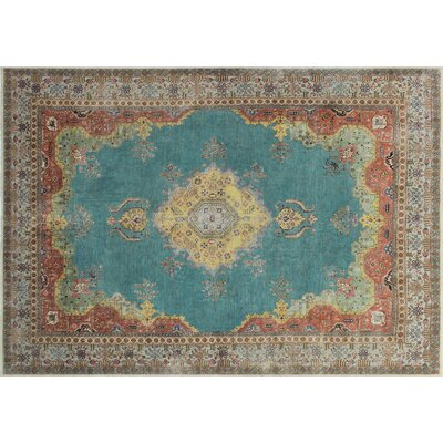 One-of-a-Kind Freja Distressed Overdyed Hand-Knotted Teal/Blue Area Rug