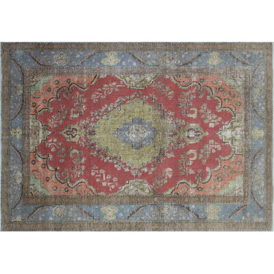 One-of-a-Kind Giancarlo Distressed Overdyed Hand-Knotted Rust Area Rug
