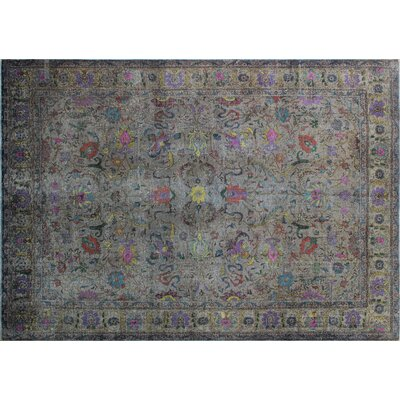 One-of-a-Kind Hanne Overdyed Distressed Hand-Knotted Gray Area Rug