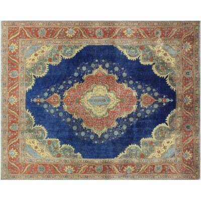 One-of-a-Kind Hedi Vintage Distressed Hand-Knotted Blue Area Rug