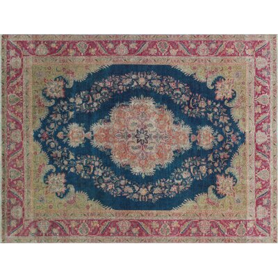 One-of-a-Kind Herve Vintage Distressed Hand-Knotted Blue Area Rug