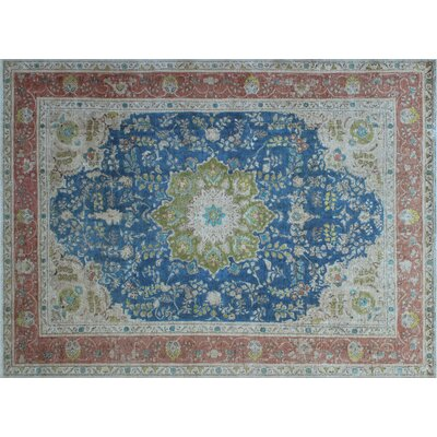 Allmon Overdyed Distressed Hand-Knotted Blue Area Rug