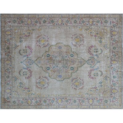 One-of-a-Kind Korina Overdyed Distressed Hand-Knotted Beige Area Rug