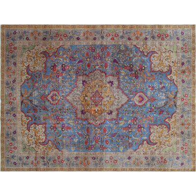 Iman Vintage Distressed Hand-Knotted Blue Area Rug