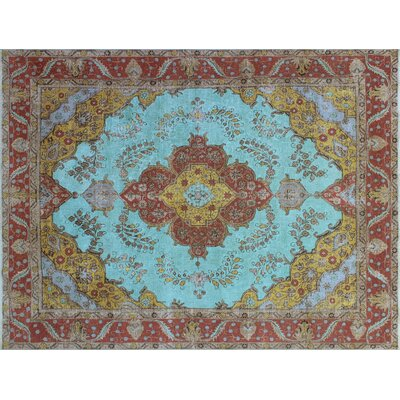 Demona Overdyed Distressed Hand-Knotted Blue Area Rug