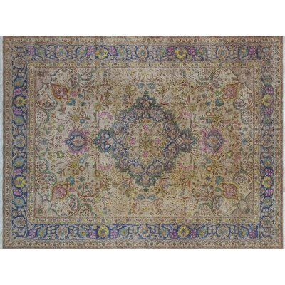 One-of-a-Kind Indra Vintage Distressed Hand-Knotted Beige Area Rug