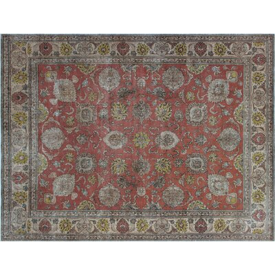 Issey Overdyed Distressed Hand-Knotted Rust Area Rug