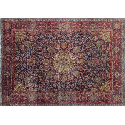 Eamor Vintage Distressed Hand-Knotted Blue Area Rug