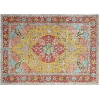 Leslie Overdyed Distressed Hand-Knotted Gold Area Rug