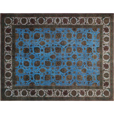 One-of-a-Kind Juergen Overdyed Distressed Hand-Knotted Blue Area Rug