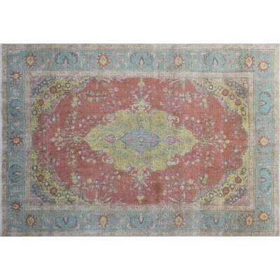 One-of-a-Kind Junya Overdyed Distressed Hand-Knotted Rust Area Rug
