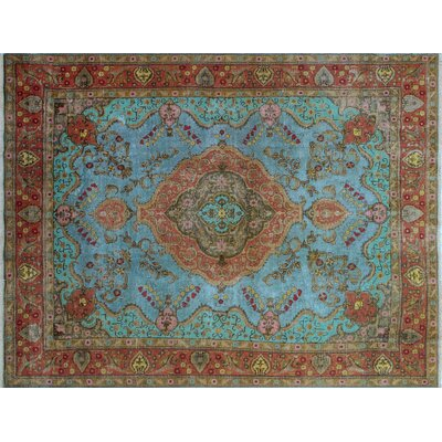 One-of-a-Kind Kacper Overdyed Distressed Hand-Knotted Blue Area Rug