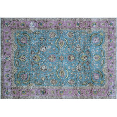 Valentine Vintage Distressed Hand-Knotted Blue Area Rug