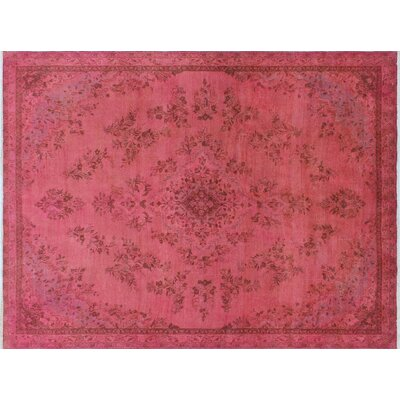 One-of-a-Kind Moore Vintage Distressed Hand-Knotted Pink Area Rug