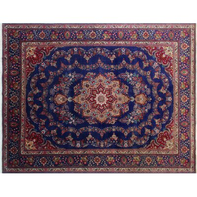 Audrey Vintage Distressed Hand-Knotted Blue Area Rug